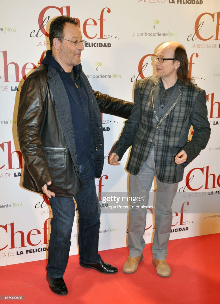 Jean Reno (L) and Santiago Segura attend 'El Chef, La Receta de la Felicidad' premiere on November 26, 2012 in Madrid, Spain.