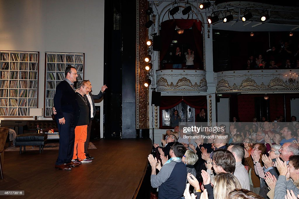 Jean Reno Patrick Braoude and Richard Berry greet on the end of the last representation of ' Nos Femmes ' to the Theatre de Paris on March 22 2015 in...