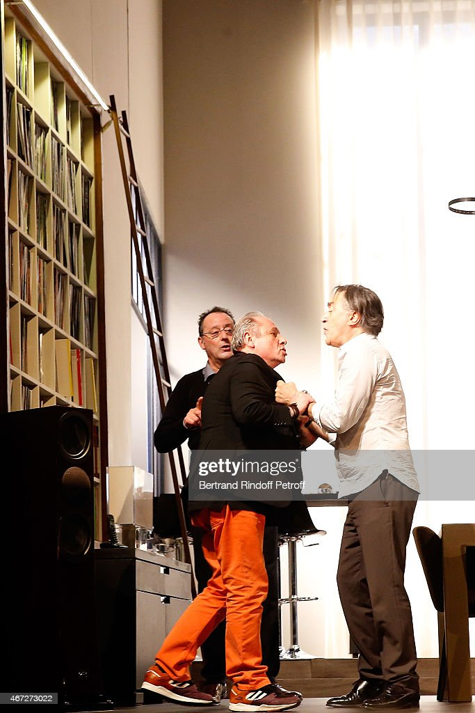Jean Reno Patrick Braoude and Richard Berry perform during the last representation of ' Nos Femmes ' to the Theatre de Paris on March 22 2015 in...