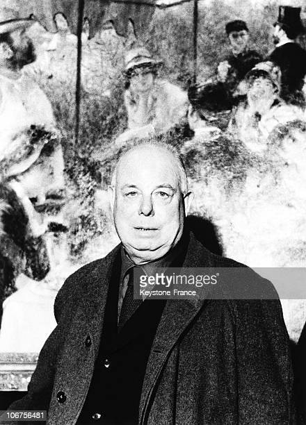 Jean Renoir In Front Of A Canvas Of His Father Auguste Renoir 1960'S