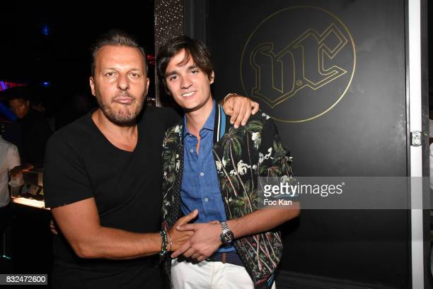 Jean Roch Pedri and Alain Fabien Delon attends the Tyga Party at VIP Room as part of SaintTropez Party On French Riviera on August 15 2017 in...