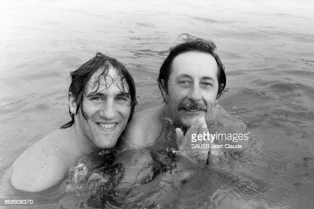 Jean Rochefort and Gerard Depardieu are photographed for Paris Match on the set of the film Le Grand Frere by Francis Girod on February 8 1982