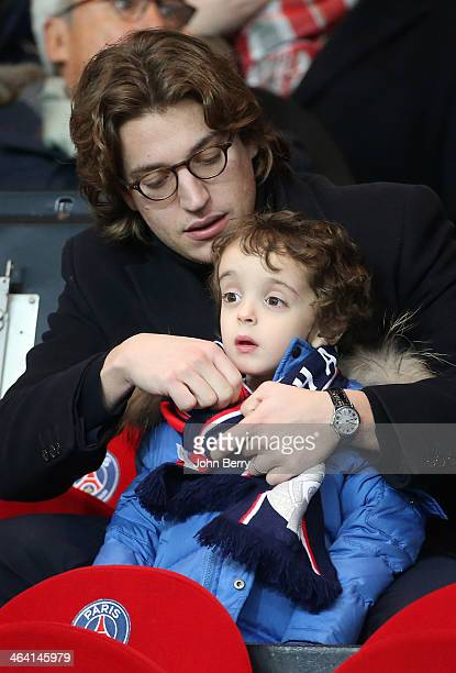 Jean Sarkozy and his son Solal Sarkozy attend the french Ligue 1 match between Paris SaintGermain FC and FC Nantes at the Parc des Princes stadium on...