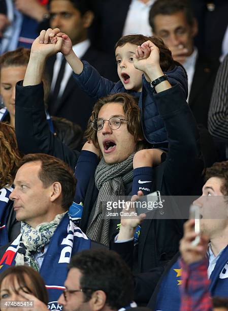 Jean Sarkozy and his son Solal Sarkozy attend the French Ligue 1 match between Paris SaintGermain and Stade de Reims at Parc des Princes stadium on...
