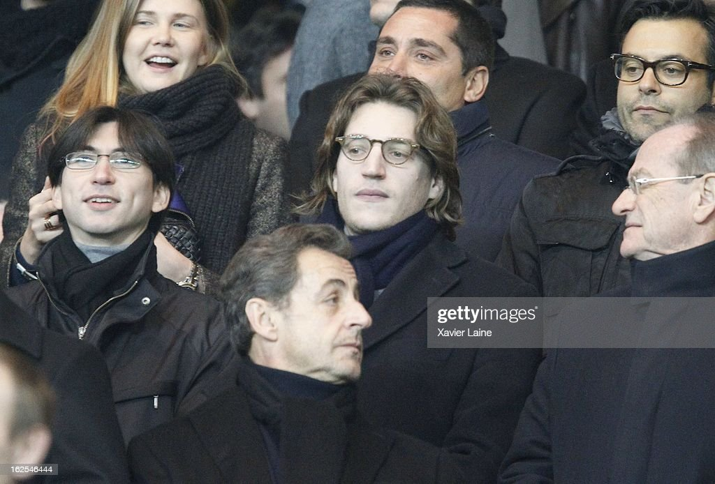 <a gi-track='captionPersonalityLinkClicked' href=/galleries/search?phrase=Jean+Sarkozy&family=editorial&specificpeople=4278551 ng-click='$event.stopPropagation()'>Jean Sarkozy</a> and <a gi-track='captionPersonalityLinkClicked' href=/galleries/search?phrase=Nicolas+Sarkozy&family=editorial&specificpeople=211375 ng-click='$event.stopPropagation()'>Nicolas Sarkozy</a> attend before the French League 1 between Paris Saint-Germain FC and Marseille Olympic OM, at Parc des Princes on February 24, 2013 in Paris, France.