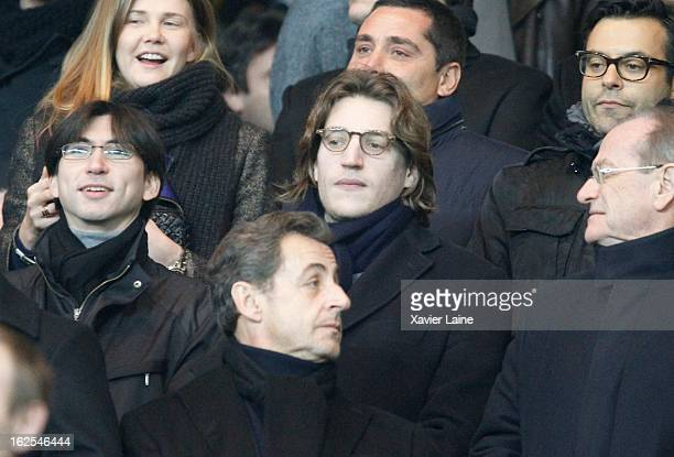 Jean Sarkozy and Nicolas Sarkozy attend before the French League 1 between Paris SaintGermain FC and Marseille Olympic OM at Parc des Princes on...