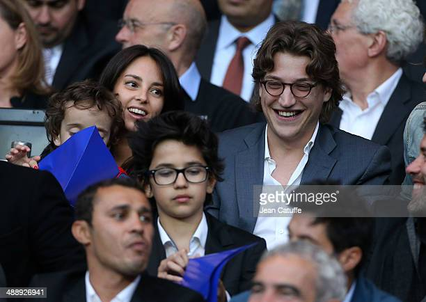 Jean Sarkozy his wife Jessica Sebaoun and their son Solal Sarkozy attend the french Ligue 1 match between Paris SaintGermain FC and Stade Rennais FC...
