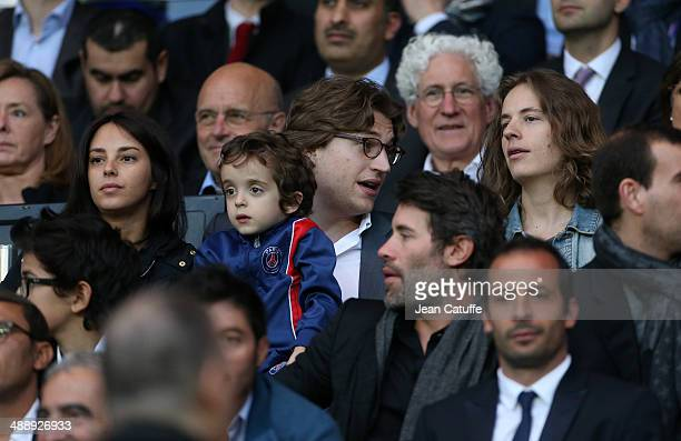 Jean Sarkozy his wife Jessica Sebaoun their son Solal Sarkozy and his brother Pierre Sarkozy attend the french Ligue 1 match between Paris...