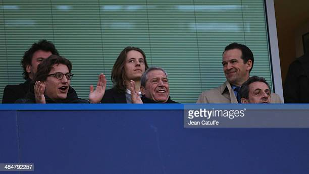 Jean Sarkozy Pierre Sarkozy JeanClaude Darmon Nicolas Sarkozy attend the UEFA Champions League quarter final match between Chelsea FC and Paris...