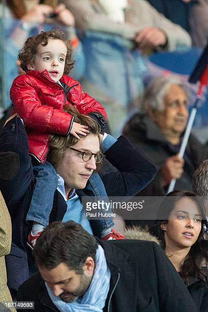 Jean Sarkozy Solal Sarkozy and Jessica Sebaoun are seen during the Ligue 1 match between Paris Saint Germain and OGC Nice at Parc des Princes on...