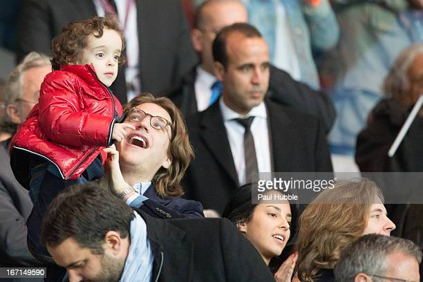Jean Sarkozy Solal Sarkozy Jessica Sebaoun and Pierre Sarkozy are seen during the Ligue 1 match between Paris Saint Germain and OGC Nice at Parc des...