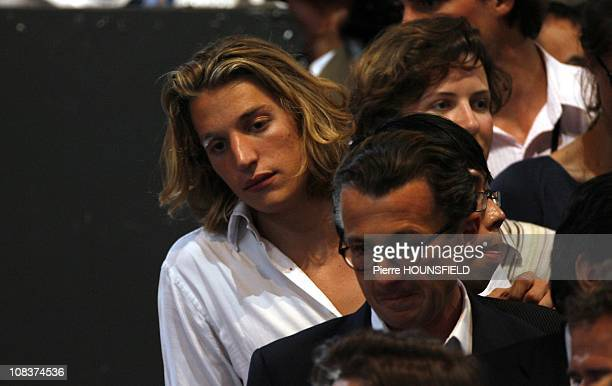 Jean Sarkozy son of Nicolas Sarkozy and François Sarkozy his brother at the Public meeting of Nicolas Sarkozy in Paris France on April 29 2007