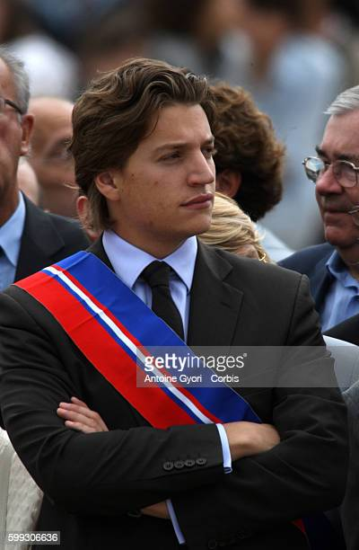 Jean Sarkozy the regional councillor of the ruling party UMP in the HautsdeSeine attends the commemorative ceremony at the Mont Valerien memorial...