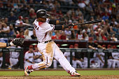 Jean Segura of the Arizona Diamondbacks bats against the Colorado Rockies during the MLB game at Chase Field on April 6 2016 in Phoenix Arizona