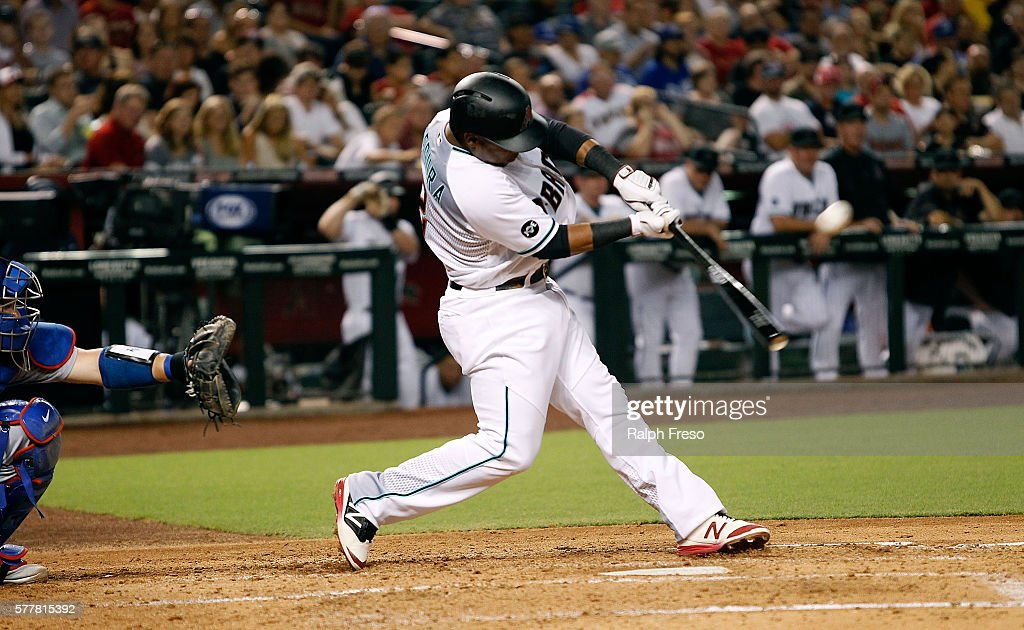 Jean Segura of the Arizona Diamondbacks hits a fly ball to center against the Los Angeles Dodgers during the third inning of a MLB game at Chase...