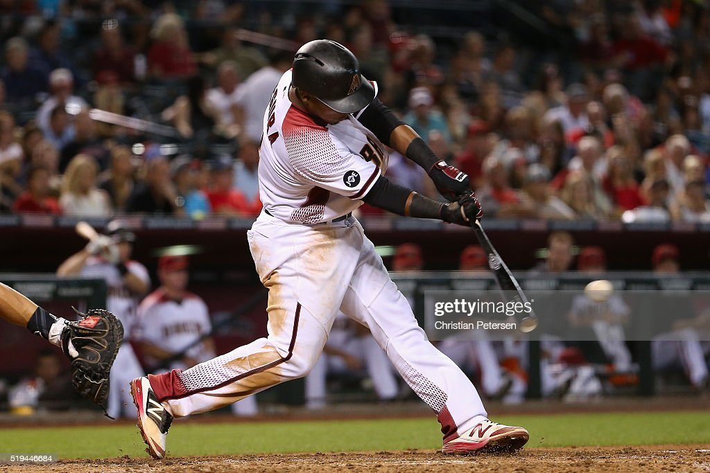 Jean Segura #2 of the Arizona Diamondbacks hits a single against the Colorado Rockies during the seventh inning of the MLB game at Chase Field on April 6, 2016 in Phoenix, Arizona.