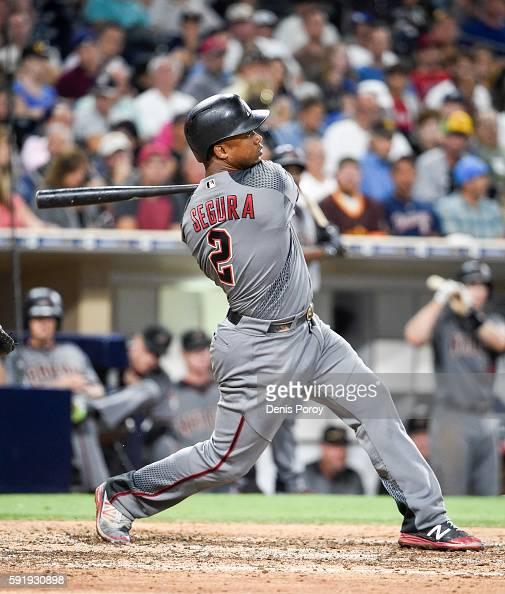 Jean Segura of the Arizona Diamondbacks hits a tworun home run during the sixth inning of a baseball game against the San Diego Padres at PETCO Park...