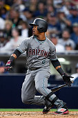 Jean Segura of the Arizona Diamondbacks hits during a game against the San Diego Padres at Petco Park on April 16 2016 in San Diego California