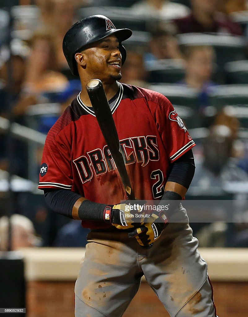 Jean Segura of the Arizona Diamondbacks in action against the New York Mets at Citi Field on August 10 2016 in the Flushing neighborhood of the...