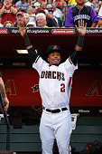 Jean Segura of the Arizona Diamondbacks in the dugout during the MLB opening day game against the Colorado Rockies at Chase Field on April 4 2016 in...