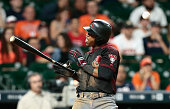 Jean Segura of the Arizona Diamondbacks is hit by a pitch in the ninth inning against the Houston Astros at Minute Maid Park on June 1 2016 in...
