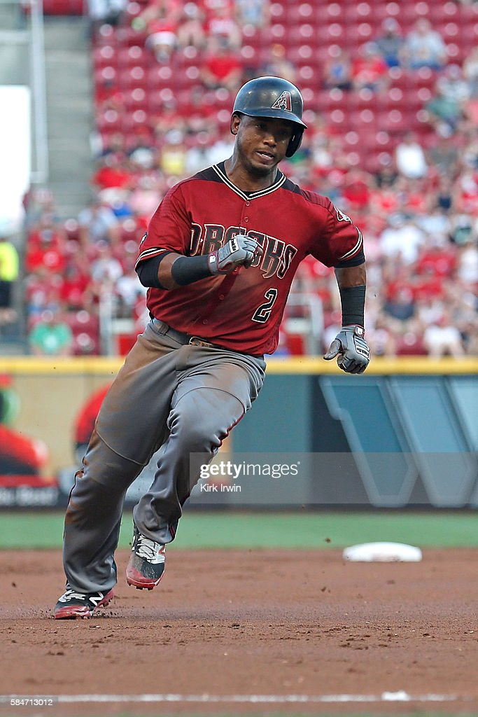 Jean Segura of the Arizona Diamondbacks rounds third base during the game against the Cincinnati Reds at Great American Ball Park on July 23 2016 in...