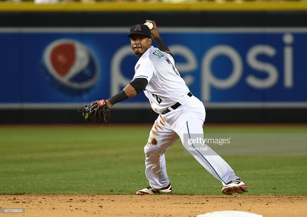 Jean Segura #2 of the Arizona Diamondbacks throws the ball to first base against the Colorado Rockies on April 29, 2016 in Phoenix, Arizona.
