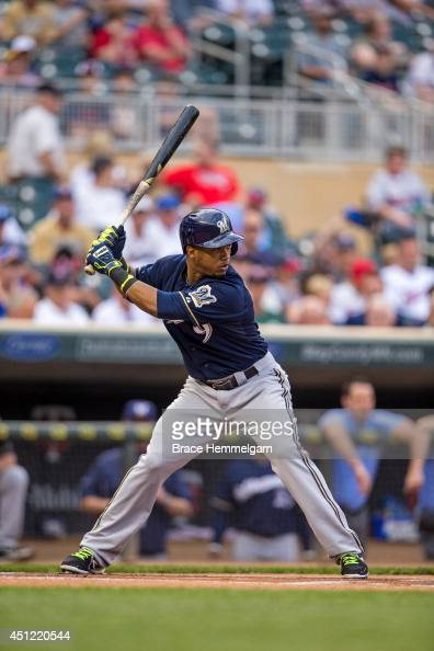 Jean Segura of the Milwaukee Brewers bats against the Minnesota Twins on June 4 2014 at Target Field in Minneapolis Minnesota The Twins defeated the...