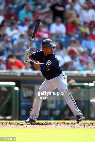 Jean Segura of the Milwaukee Brewers bats during the game against the Philadelphia Phillies at Citizens Bank Park on June 1 2013 in Philadelphia...