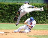 Jean Segura of the Milwaukee Brewers forces out Welington Castillo of the Chicago Cubs during the second inning on September 1 2014 at Wrigley Field...