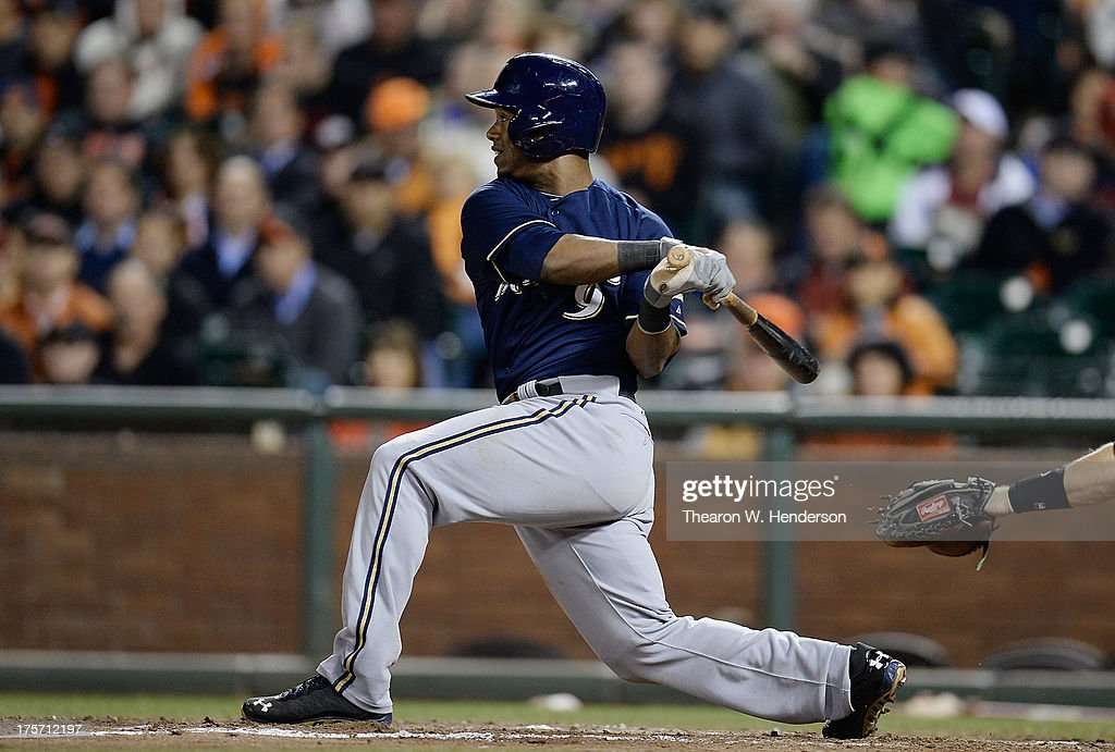 <a gi-track='captionPersonalityLinkClicked' href=/galleries/search?phrase=Jean+Segura&family=editorial&specificpeople=7521808 ng-click='$event.stopPropagation()'>Jean Segura</a> #9 of the Milwaukee Brewers hits a double in the seventh inning against the San Francisco Giants at AT&T Park on August 6, 2013 in San Francisco, California.