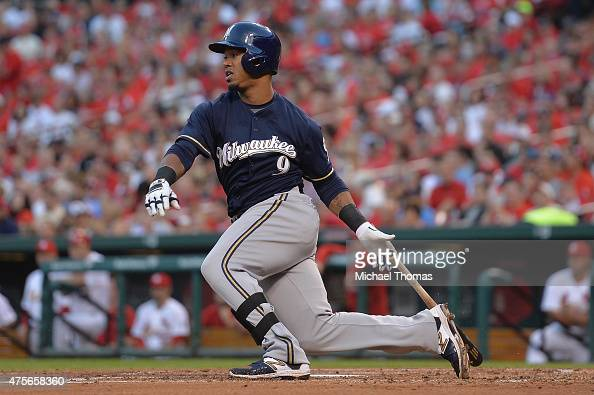 Jean Segura of the Milwaukee Brewers hits a lead off single in the third inning against the St Louis Cardinals at Busch Stadium on June 2 2015 in St...