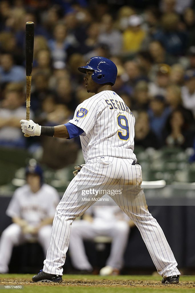 Jean Segura #9 of the Milwaukee Brewers hits his first Major League home run in the bottom of the fourth inning against the Arizona Diamondbacks at Miller Park on April 5, 2013 in Milwaukee, Wisconsin.