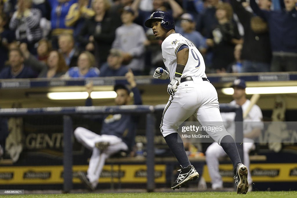 Jean Segura #9 of the Milwaukee Brewers runs the bases after hitting a two-run homer in the bottom of the sixth inning against the Arizona Diamondbacks at Miller Park on April 05, 2014 in Milwaukee, Wisconsin.