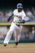 Jean Segura of the Milwaukee Brewers runs to third base during the Interleague game against the Minnesota Twins at Miller Park on June 03 2014 in...