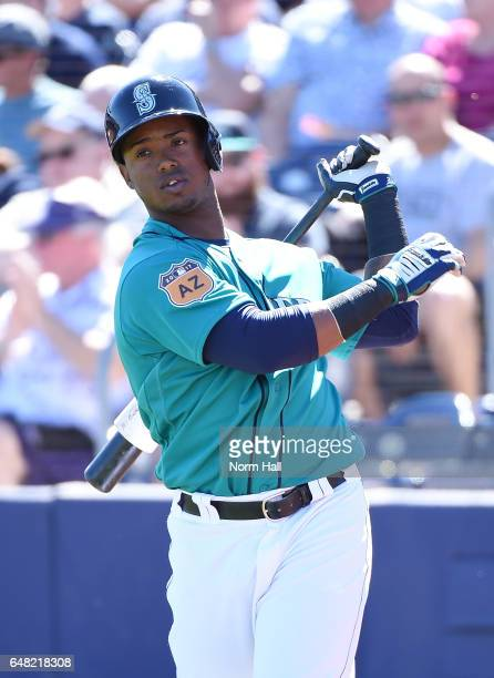 Jean Segura of the Seattle Mariners gets ready to step into the batters box against the Milwaukee Brewers at Peoria Stadium on March 2 2017 in Peoria...