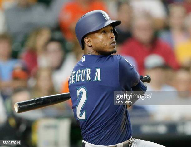 Jean Segura of the Seattle Mariners hits a ttworun home run in the fifth inning against the Houston Astros at Minute Maid Park on April 5 2017 in...