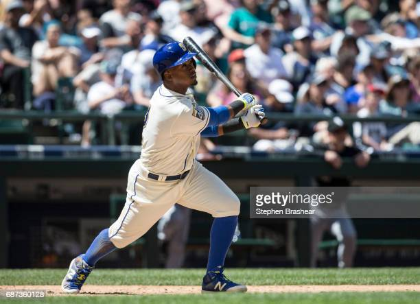 Jean Segura of the Seattle Mariners takes a swing during an atbat in a game against the Chicago White Sox at Safeco Field on May 21 2017 in Seattle...