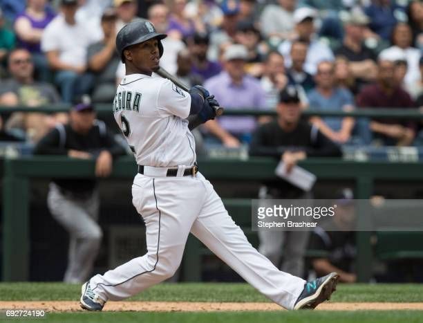 Jean Segura of the Seattle Mariners takes as swing during an atbat in a game against the Colorado Rockies at Safeco Field on June 1 2017 in Seattle...