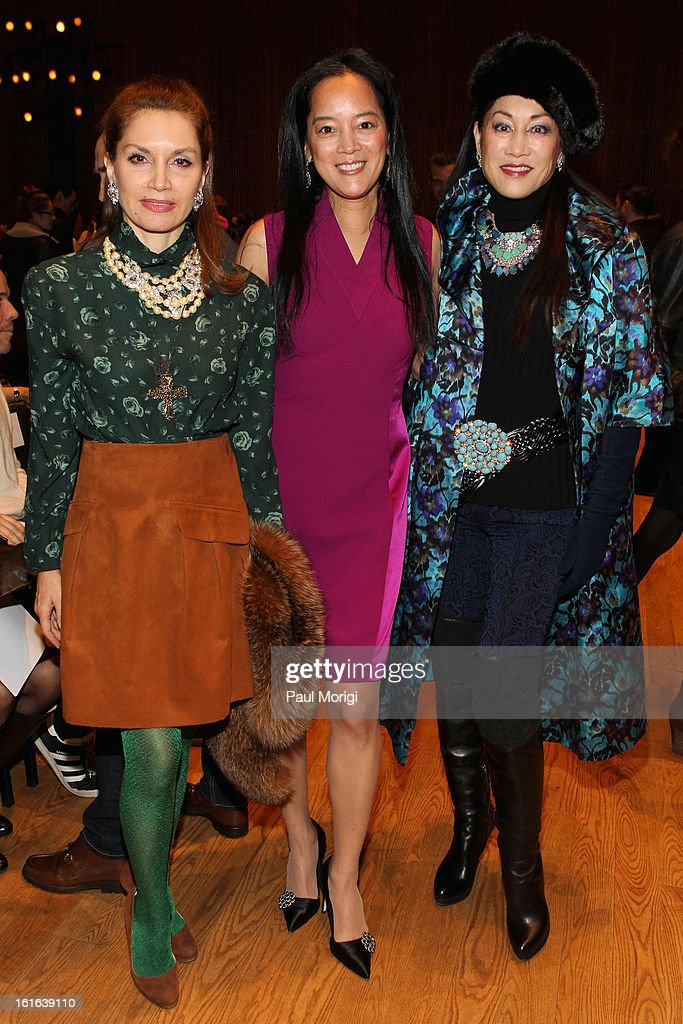 Jean Shafiroff, Cassandra Seidenfeld and Lucia Hwong Gordon attend the Douglas Hannant Fall 2013 Collection during Mercedes-Benz Fashion Week at Dimenna Center for Classical Music on February 13, 2013 in New York City.
