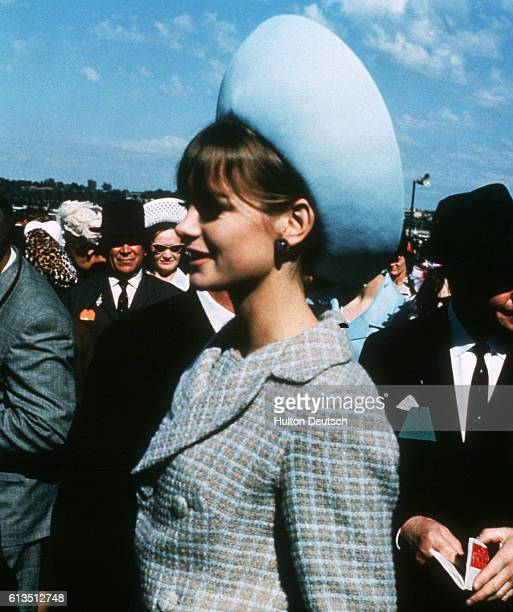 Jean Shrimpton the English fashion model and international figure of the 1960s mingles with the crowds attending the Melbourne Cup horse race