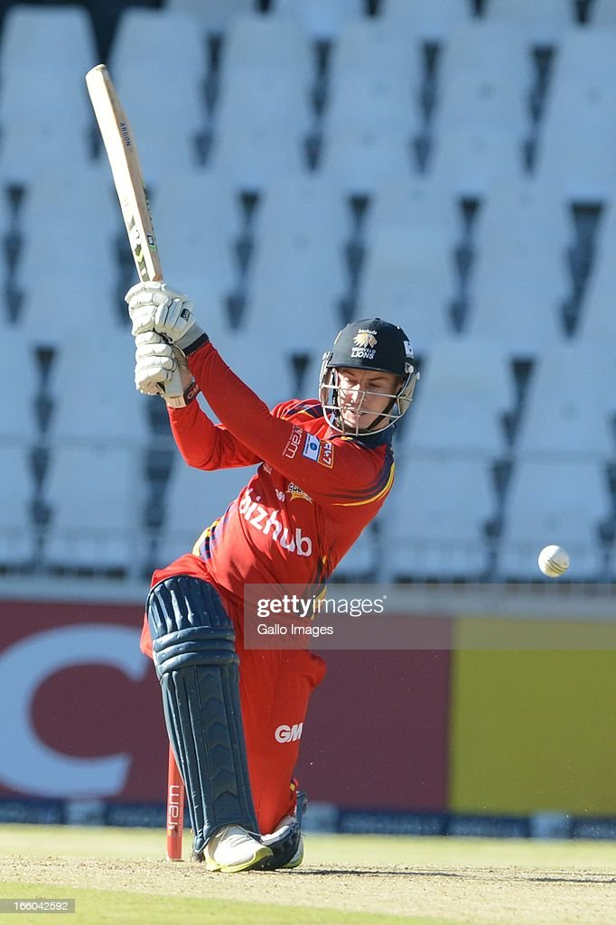 Jean Symes of the Bizhub Highveld Lions during the 2013 RAM Slam T20 Challenge Final between Bizhub Highveld Lions and Nashua Titans at Bidvets Wanderers Stadium on April 07, 2013 in Johannesburg, South Africa.