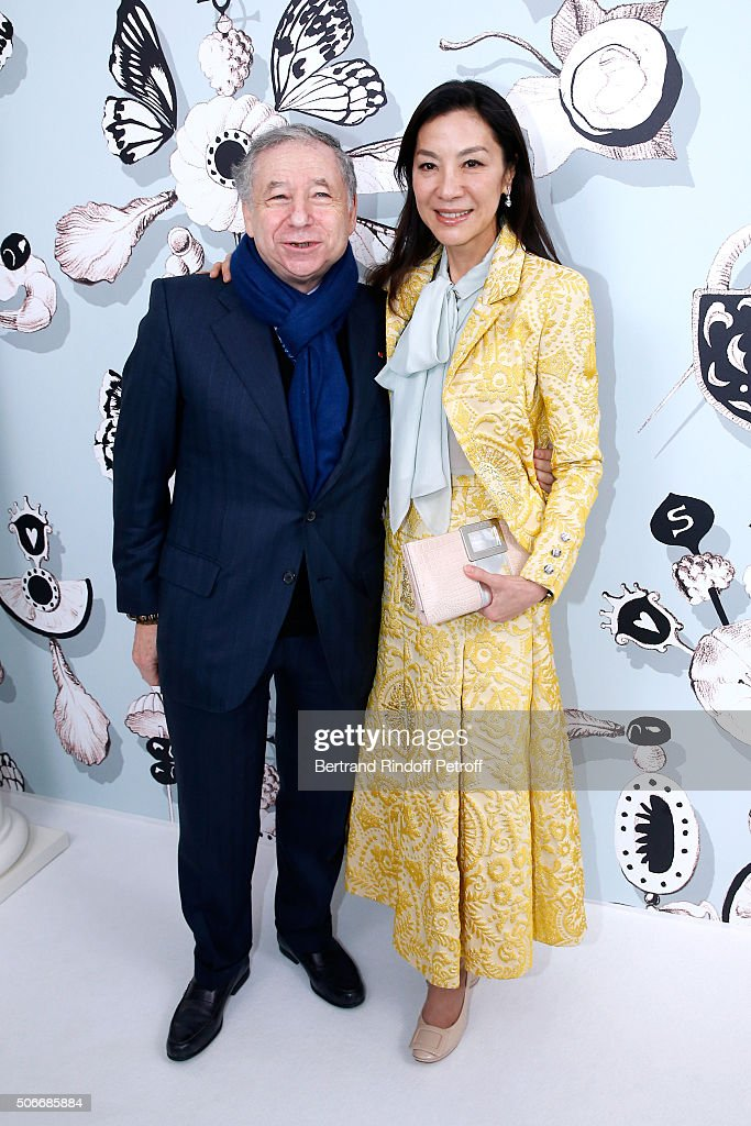 <a gi-track='captionPersonalityLinkClicked' href=/galleries/search?phrase=Jean+Todt&family=editorial&specificpeople=206323 ng-click='$event.stopPropagation()'>Jean Todt</a> and Actress <a gi-track='captionPersonalityLinkClicked' href=/galleries/search?phrase=Michelle+Yeoh&family=editorial&specificpeople=223894 ng-click='$event.stopPropagation()'>Michelle Yeoh</a> attends the Schiaparelli Haute Couture Spring Summer 2016 show as part of Paris Fashion Week on January 25, 2016 in Paris, France.