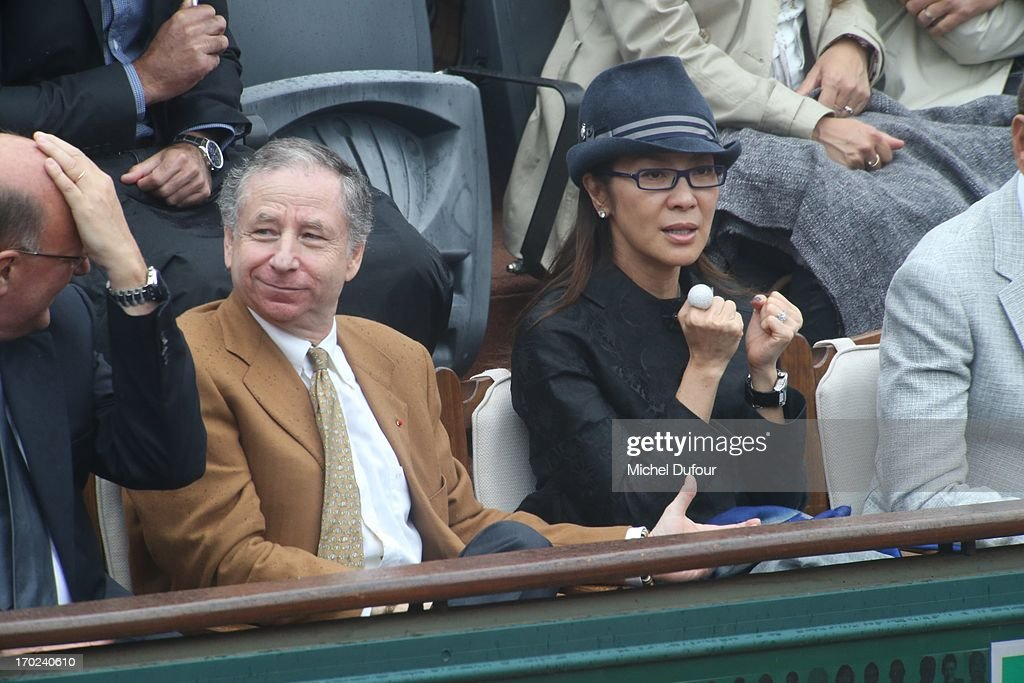 <a gi-track='captionPersonalityLinkClicked' href=/galleries/search?phrase=Jean+Todt&family=editorial&specificpeople=206323 ng-click='$event.stopPropagation()'>Jean Todt</a> and <a gi-track='captionPersonalityLinkClicked' href=/galleries/search?phrase=Michelle+Yeoh&family=editorial&specificpeople=223894 ng-click='$event.stopPropagation()'>Michelle Yeoh</a> seen as Celebrities At French Open 2013 - Day 15 at Roland Garros on June 9, 2013 in Paris, France.