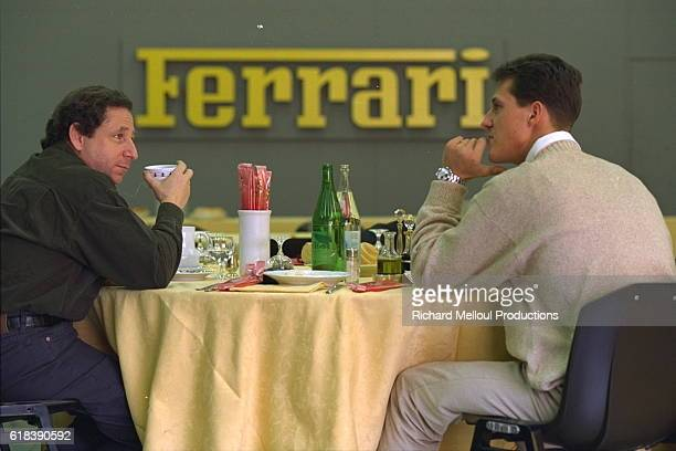 Jean Todt Ferrari Sports Director with Michael Schumacher