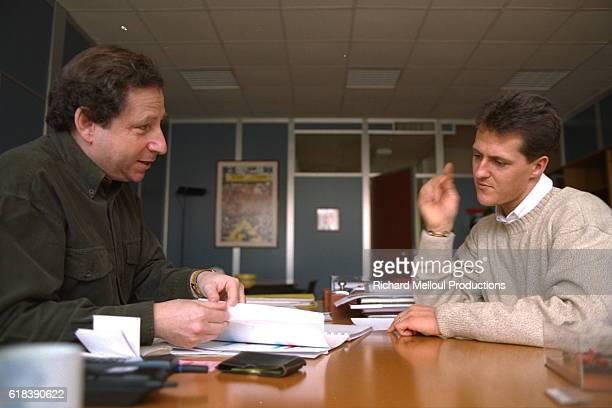 Jean Todt Ferrari Sports Director with racing driver Michael Schumacher