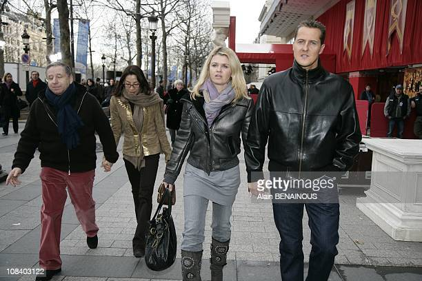 Jean Todthis wife Michelle Yeoh and Corinna Schumacher in Paris France on January 13th 2008