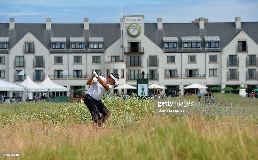 Jean Van De Velde of France second shot from deep rough at the 18th during the first day of The Senior Open Championship at Carnoustie Golf Club on...