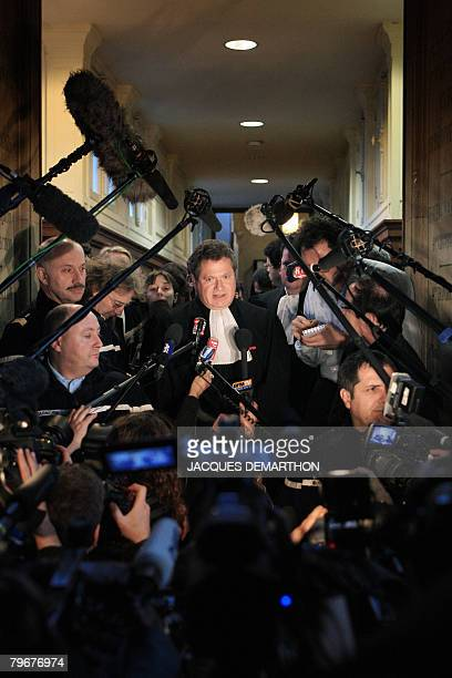 Jean Veil 5c the lawyer of the Societe Generale addresses journalists after the French rogue trader Jerome Kerviel whose unauthorised deals at...