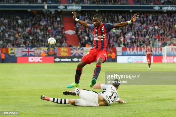 Jean Victor Makengo of Caen and Rami Bensebaini of Rennes during the Ligue 1 match between SM Caen and Stade Rennais Rennes at Stade Michel D'Ornano...